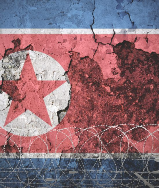 Picture of North Korea flag on the old wall with barbed wire